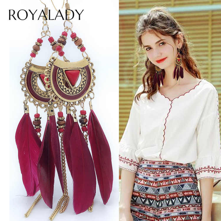 Bohemian Long Tassel Feather Tassel Drop Earrings Vintage Ethnic Red Blue Dangle Fringe Statement Women Earring Female Jewelry
