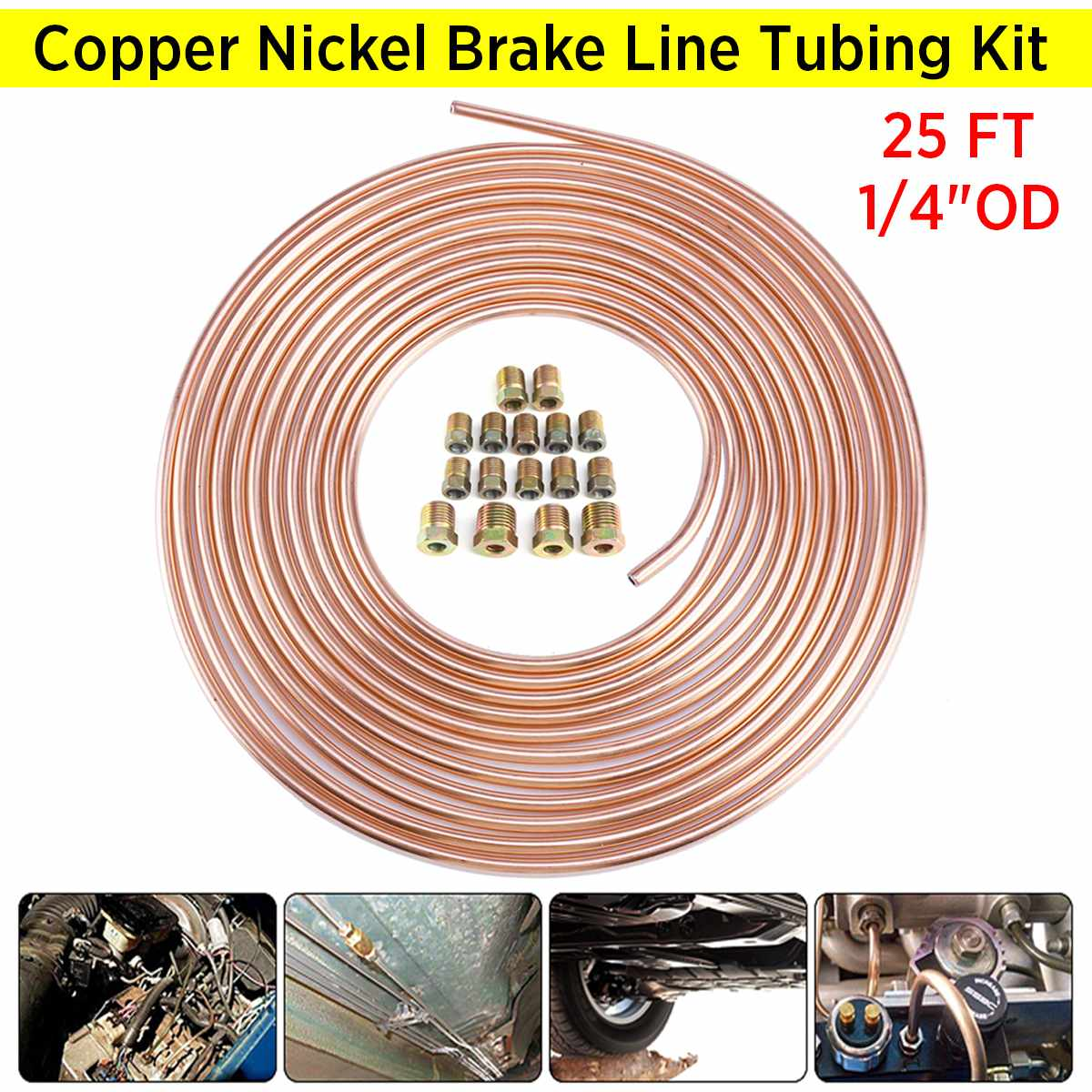 1//4 Copper Nickel Brake Line kit 5 different lengths Double Flared w//Standard 1//4 tube nuts
