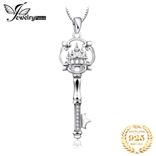 JewelryPalace Cubic Zirconia Castle Key Pendant Necklace Without Chain 925 Sterling Silver Jewelry for Women Fashion