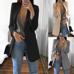 Новый Для женщин Повседневное с длинным рукавом однотонные Цвет отложной воротник пальто леди Бизнес жакет комплект куртка Тонкий Топ Для ...