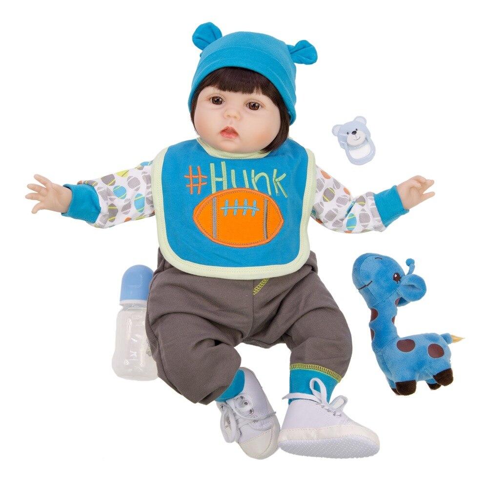 56CM Reborn bébé garçon bebe poupée Simulation reborn silicone poupée main peinture peau blanche dormir filles cadeau jouets avec les mains ouvertes