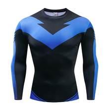 Langarm Nightwing 3D Gedruckt T shirts Männer Compression Shirts 2019 Charakter Comics Tops Für Männlichen Cosplay Kostüm Kleidung