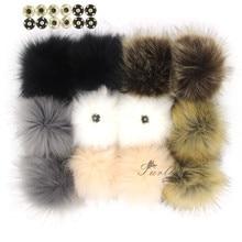Fourrure 12 pièces Faux fourrure de renard pompons 12CM/4.7 pouces pompons avec bouton pression pour Beanie chapeaux accessoires de tricot en gros
