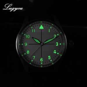 Image 5 - Lugyou San Martin Pilot Men Watch Automatic Stainless Steel 20ATM Leather Strap 39mm Sapphire Waterproof White Face Super Lum