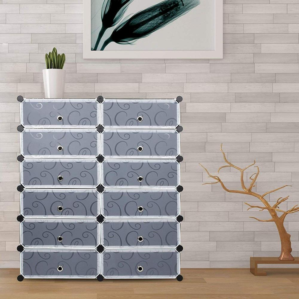 Black 12 Cube Plastic Shoe Cabinet DIY Shoe Rack Storage Shoes Organizers Cabinet Embossing Doors C05