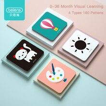 Beiens Детские игрушки Монтессори карманные карточки для 0 36 месяцев для новорожденных Обучающие карты игрушки для детей Раннее Обучение познавательные карты