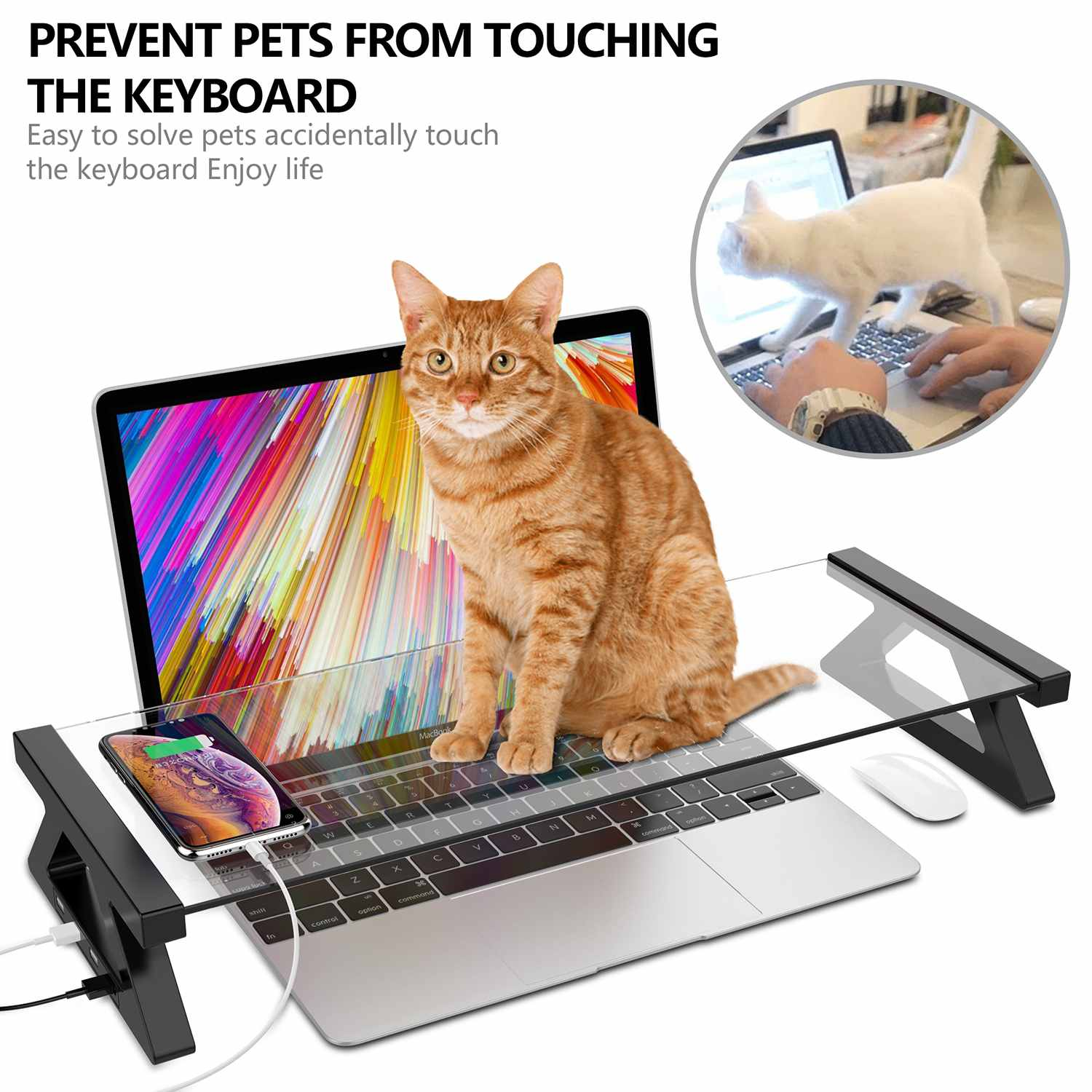 Multi-function Computer Monitor Stand With 4 USB Ports Aluminum Alloy Tempered Glass Desktop Laptop Holder Desk TV Screen Riser