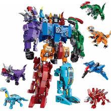 6 in 1 Dinosaur Mecha Deformation City Guard Robot Enlighten Block Set  Kids Educational Building Toy