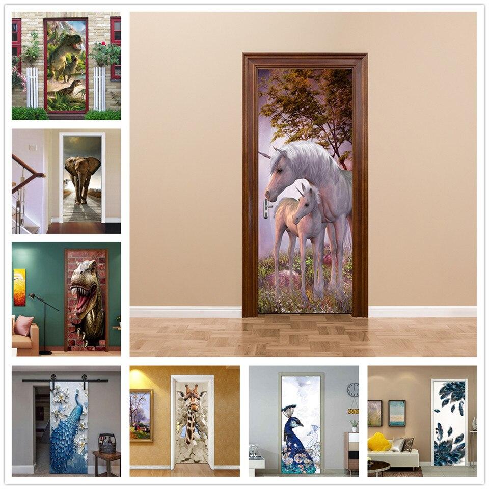 Unicorn Family Door Sticker Vinyl Self-adhesive Waterproof Wallpaper Cartoon Stickers On The Doors Mural Home Decor Deurposter