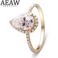 1.5carat 6x9mm Pear Cut DF VVS1 Moissanite Engagement Wedding Ring Halo Style Fine Jewelry 18k Yellow Gold