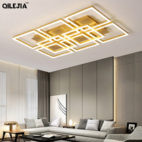 Modern LED chandelier lamps for the living room Home golden color lamps for the bedroom with remote control dimming dining room