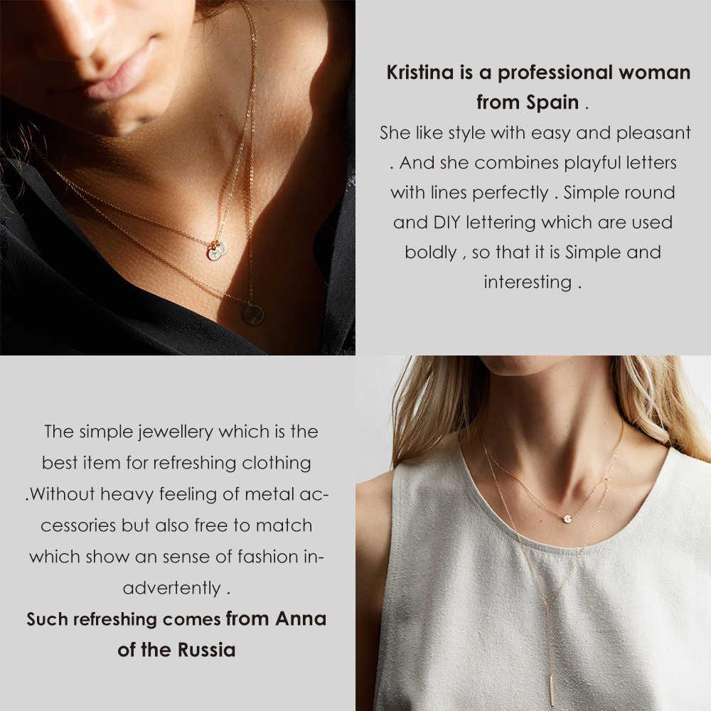 DIY 女性ネックレス手紙ステンレス鋼ネックレスゴールドチェーンチョーカーネックレス女性声明パーソナライズジュエリー親友