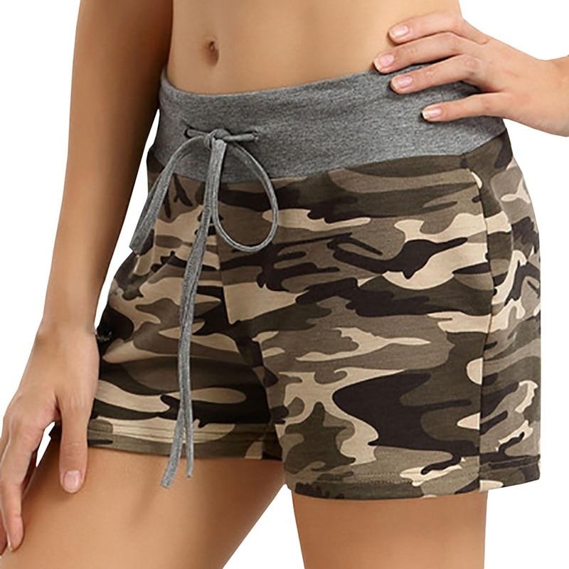 Women Summer Camouflage Printed Lace Up Elastic Waist Sport Wear Casual Beach Yo-Ga Short Feminino