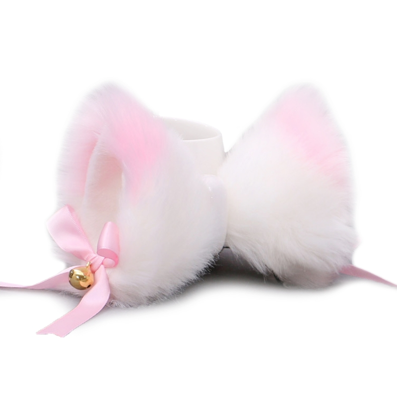 1 Pair Japanese Lolita Anime Hair Clips Cute Furry Cat Ears Hairpin with Bowknot Bell Cosplay Costume Snap Barrette