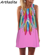 Arthsdite 2018 Women White Feather Print Dress Vintage Beach Causal Sleeveless Tunic Sundress Large Size Summer