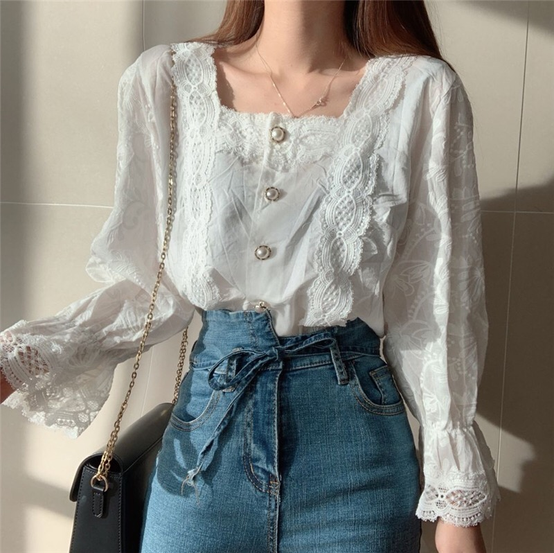 Heb3066541fee4bab805bdf8f054f8cf0y - Spring / Autumn Square Collar Flare Sleeves Hollow Out Pearl Buttons Blouse