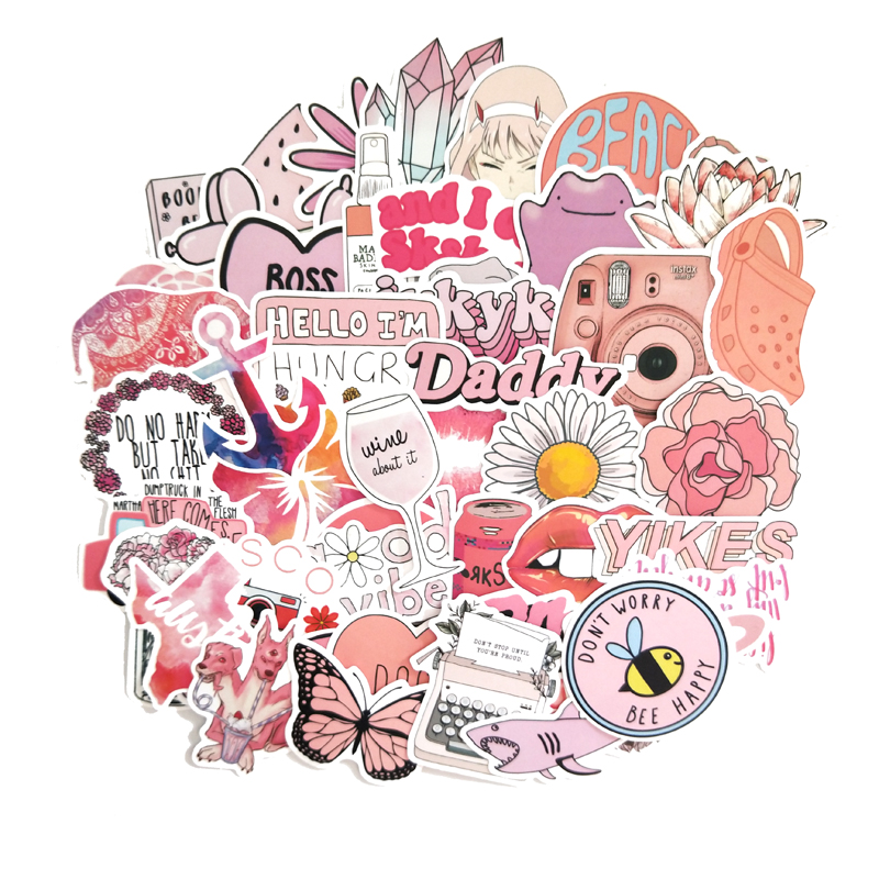 50PCS Cartoon Pink INS Style Vsco Girl Stickers For Laptop Moto Skateboard Luggage Refrigerator Notebook Laptop Toy Sticker F5