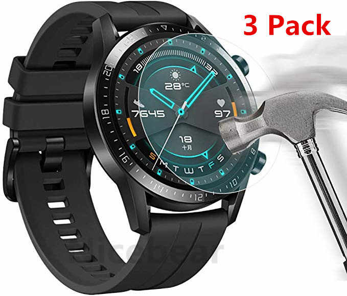 3 Pack para el Huawei Watch GT 2 (46mm) Honor Magic 2 (46mm) Protector de pantalla de vidrio templado 9H de Smartwatch protectora de vidrio