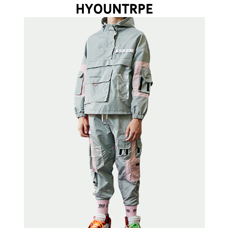 2 Pieces Sets Mens Cargo Pullover Tracksuit With Pockets Military Jackets And Loose Fit Elastic Waist Pants Autumn Hip Hop Sets