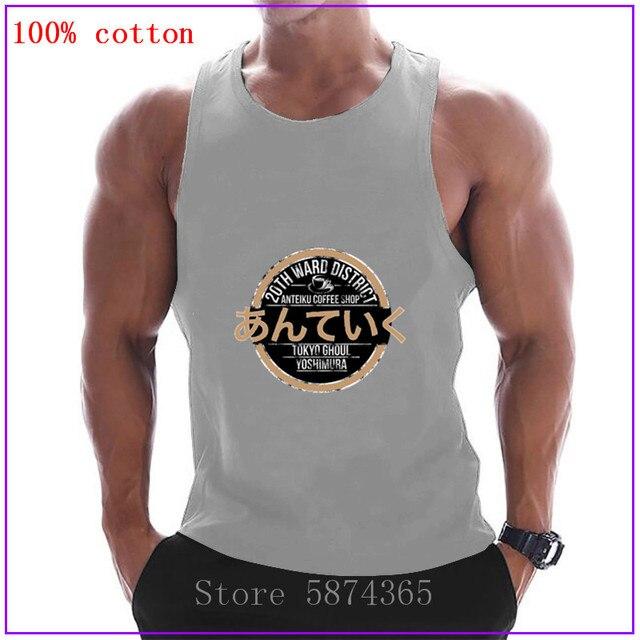 Tokyo Ghoul-Anteiku Coffee Shop Mens kawaii Clothing Sportswear Gyms Tank Tops Men cotton Vest Compression Bodybuilding Tanktop