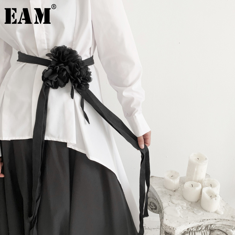[EAM] Black Bandage Long Three-dimensional Flower Belt Personality Women New Fashion Tide All-match Spring Autumn 2020 19A-a572