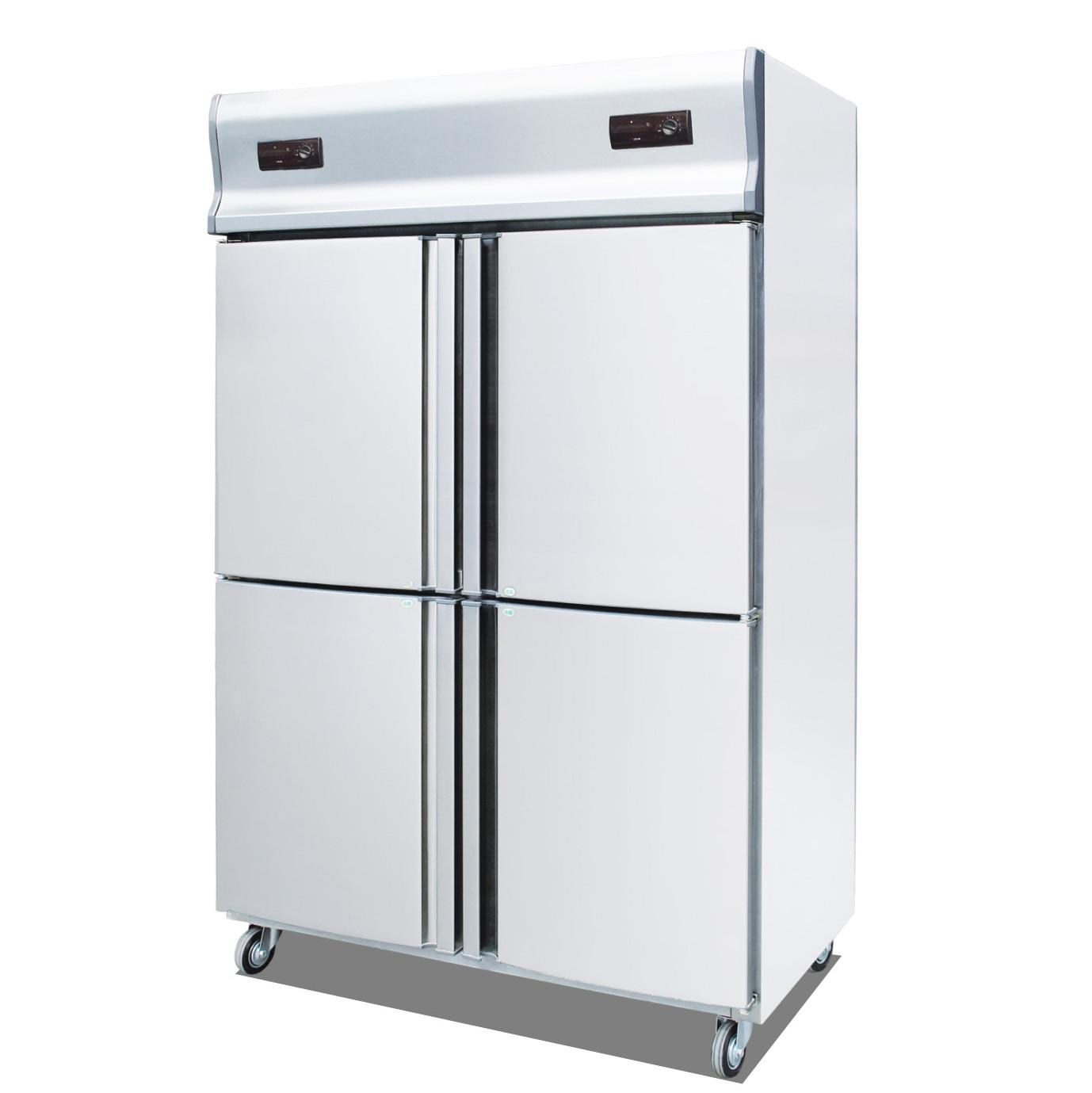 4 Door Vertical Cold Freezer, Kitchen Cabinet Showcases Stainless Steel Freezer