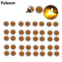 Fuleem 50PCS 3led Ambra 3/4 Inch Mini Led Indicatore Laterale Pallottola Chrome In Lampade Luce 12V Impermeabile