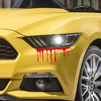 2 قطعة ملصقات شخصية سيارة محاكاة Bloody الكتابة على الجدران الرعب الدم وصمة عار السيارات المصابيح الخلفية غطاء الصفر لا تتلاشى ملصقات