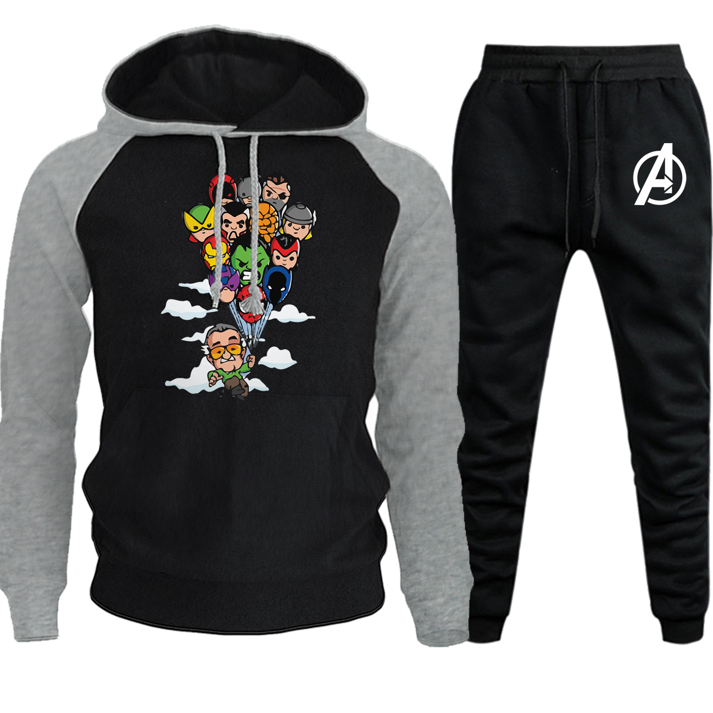 Funny The Avengers Autumn Winter 2019 Streetwear Men Raglan Hooded Marvel Hip Hop Casual Suit Fleece Hoodies+Pants 2 Piece Set