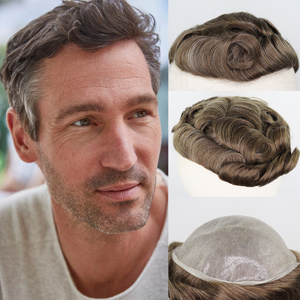 YY Wigs Men's Toupee 8x10 Thin Pu Brown Mix Grey 6 Inch Thin Skin Replacement System Men Wigs Brazilian Remy Hairpiece For Men
