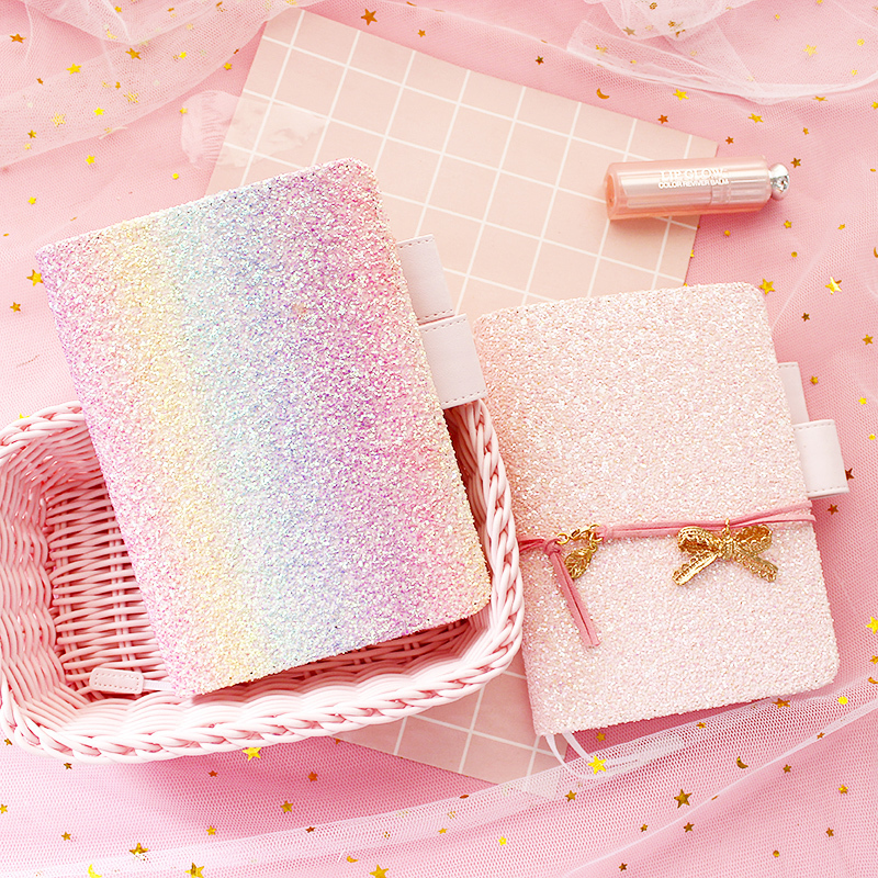 Cute Pink Glitter Cover For Standard A5/6 Diary Notebook Kawaii Shiny Girl Travelers Journal Stationery Notebook Bullet Journal