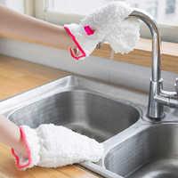 Guante antiadherente para lavar platos, cepillo de limpieza de cocina, cuenco, guantes resistentes al agua, guantes sólidos de terciopelo suave, suministros para el hogar