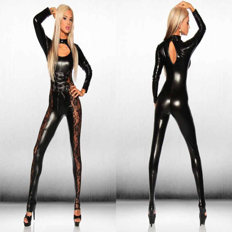 ผู้หญิงสังเคราะห์หนัง Jumpsuit ลูกไม้ Fishnet บอดี้สูท Latex Catsuit Bondage รัดตัว Strappy ชุดตุ๊กตาหมีผู้หญิงเร้าอารมณ์เครื่องแต่งกาย