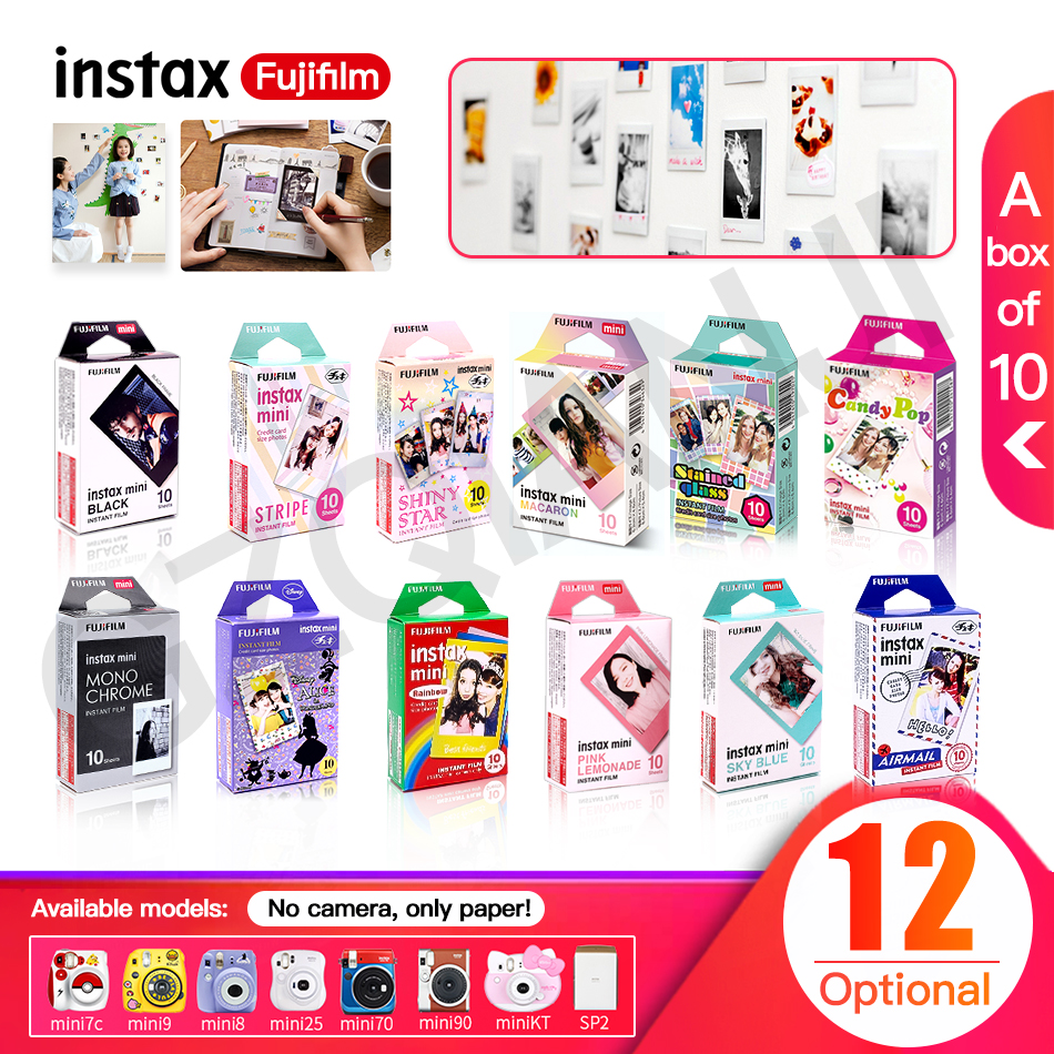 Fujifilm Instax Mini Film Color Photo Paper 10pcs For Fuji 9 8 7s 50s 50i 90 25 70 Share SP-2 SP-1 Instant Camera