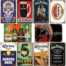 Corona bacardi vintage cerveja placa de metal sinal da barra decoração da parede casa sinais retro metal poster estanho sinal homem caverna pub cozinha placas