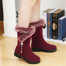 Новые зимние женские ботинки повседневные теплые ботинки до середины икры на меху женские зимние ботинки без шнуровки с круглым носком на плоской подошве Muje, большие размеры 35-41