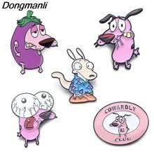 P3995 Dongmanli Cães Bonitos Dos Desenhos Animados Da Jóia Do Esmalte Do Metal Pins e Broches Moda Pin de Lapela o Emblema Presentes Engraçados