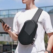 Fenruien-Bolso de hombro para hombre, Bolsa Bandolera de viaje informal, repelente al agua, color negro, bandoleras con carga por USB