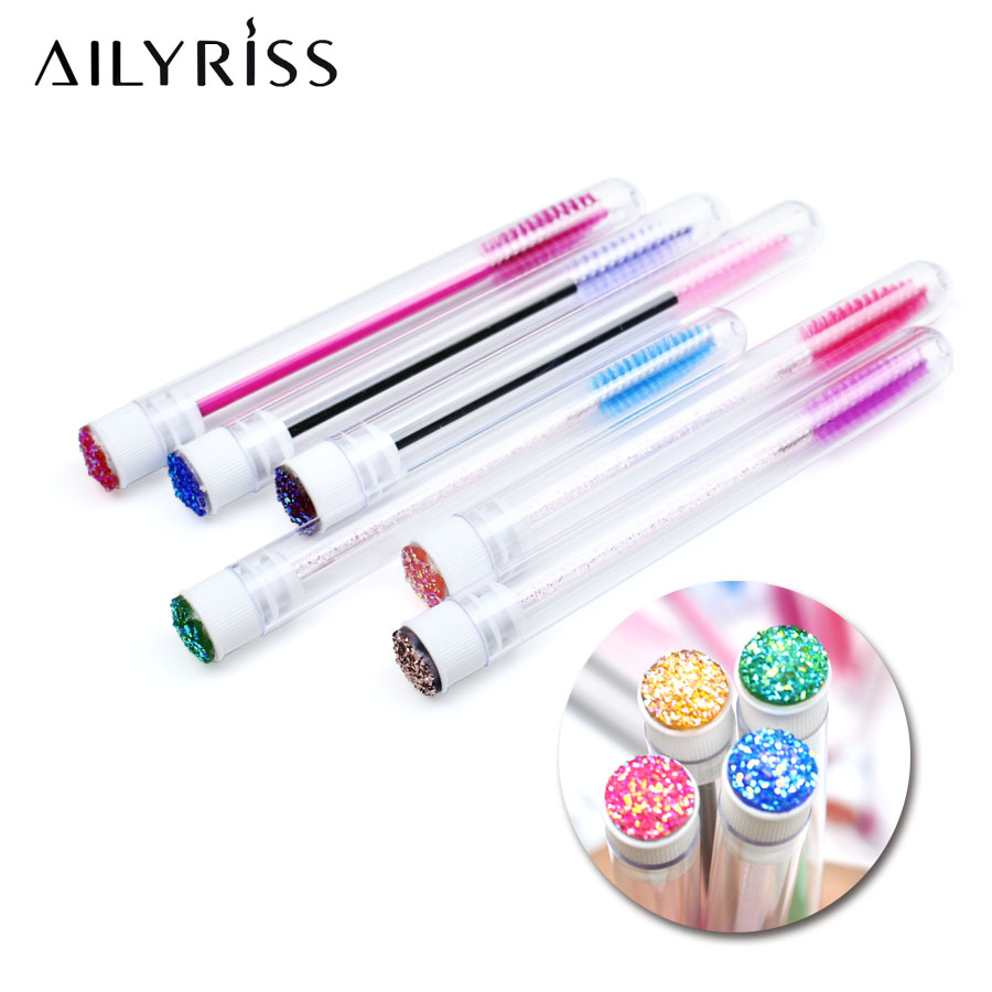 6/12 PCS Eye Brush For Eyelash Extension Disposable Separate Tube Design With Diamond Professional Personal Eye Brush Supplies