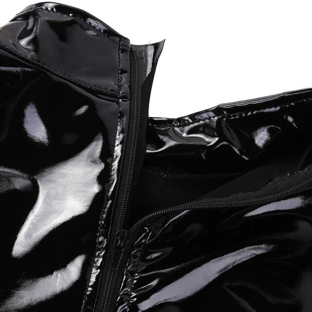 Catsuit da donna in lattice Sexy Wetlook corpo in pelle Lingerie cerniera Body Teddy Body cavallo aperto Hot Porno Babydoll pigiami