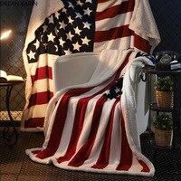 DREAM KARIN American Flag Adult Children 3D Digital Printing Cotton velvet thickened blanket for customization