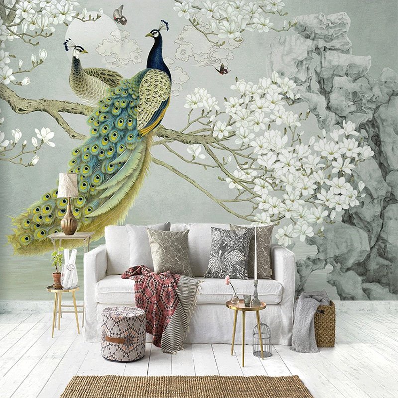 Custom Mural Wallpaper 3D Peacock Magnolia Flowers Wall Painting Living Room Study Home Decor Wall Painting Papel De Parede 3 D