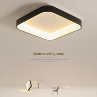 Black White Gray LED Ceiling Light Modern Simple Round Square Panel Lamp With Remote Control For Living Room Bedroom Kitchen