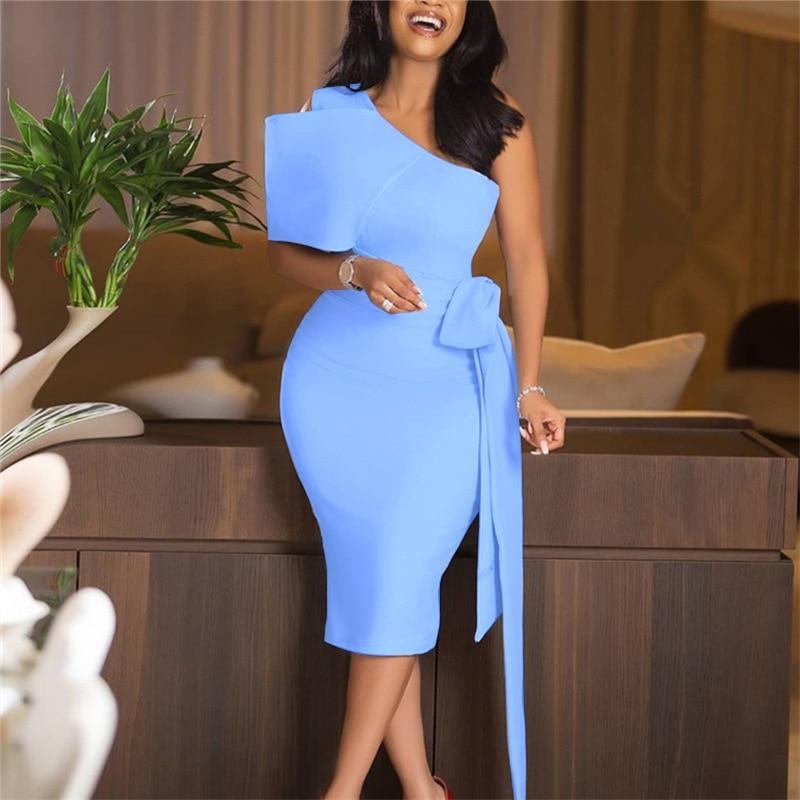 Elegant Bowknot Sheath Women Dress Sexy One Shoulder Sleeveless Solid Blue Chiffon Bodycon Office Dress Plus Size Tea Length