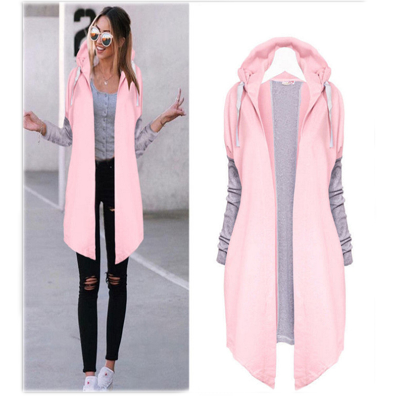 GAOKE Spring Autumn Women Coats Fashion Patchwork Casual Long Coat Female Hooded Jacket Long Cardigans Outerwear Jackets