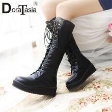 DORATASIA New Hot Sale Plus Size 33-47 Platform Boots Lady lace-up mid-calf Women 2019 Winter Warm Fur Wedges Shoes Woman