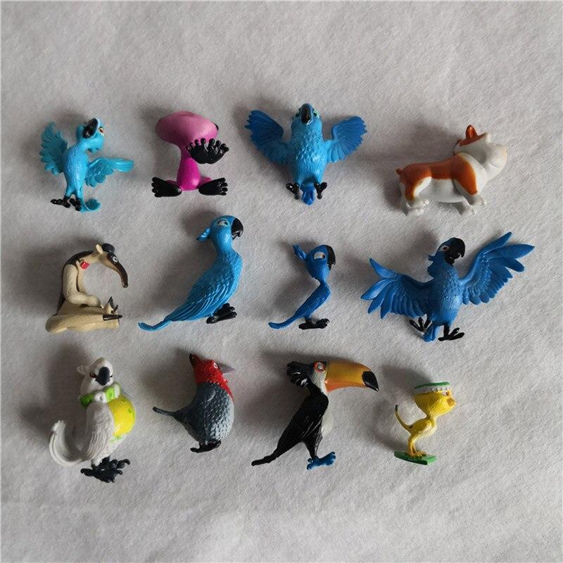 12pcs/lot Mini Rio Adventure Parrot Friends Birds PVC Action Figures Cartoon Collection Toy For Boy Juguete Model Gift Kid