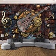Papel pintado fotográfico personalizado para paredes 3D guitarra Retro notas musicales Bar KTV restaurante café Fondo pared papel Mural pared arte 3D