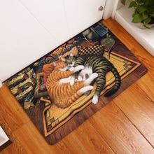 Cartoon Cat Print Decorative Hallway Entrance Doormat Lazy Cat Pattern Non Slip Bathroom Carpet Home Decor Kitchen Floor Rug