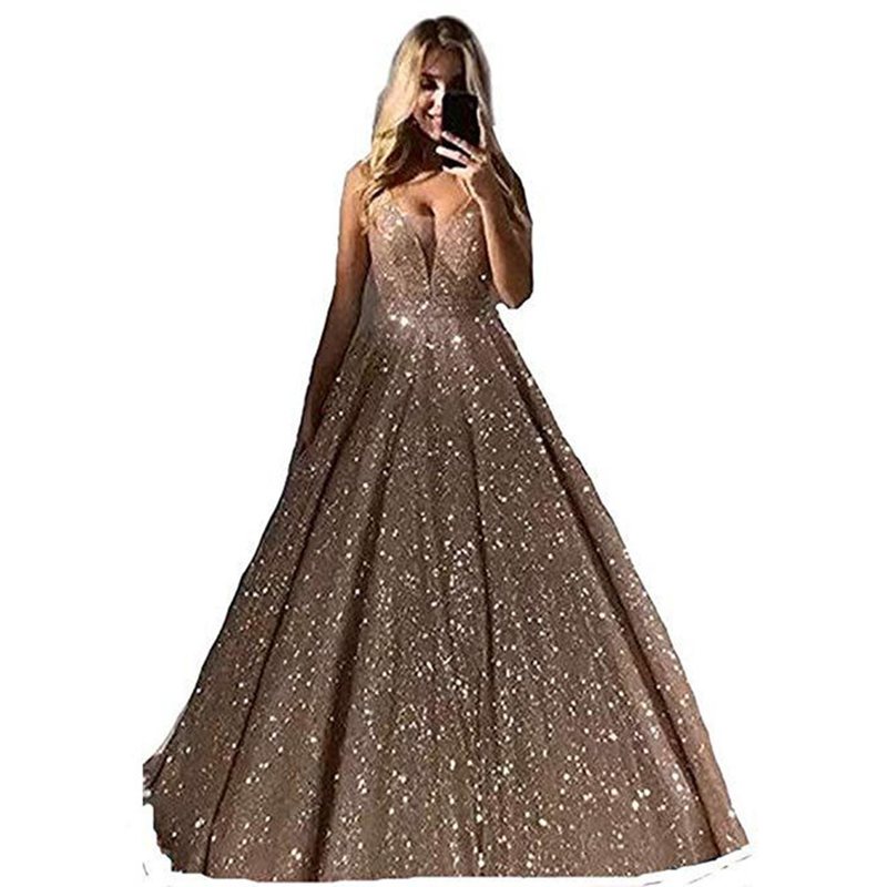 Zoe Saldana Evening Party Dresses Sequins V-neck Backless Sleeveless Banquet Dress Prom Gowns Robe De Soiree